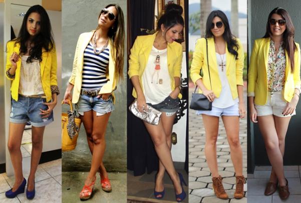 blazer amarelo com saia jeans 3