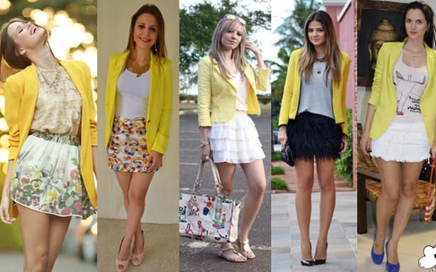 blazer amarelo com saia jeans