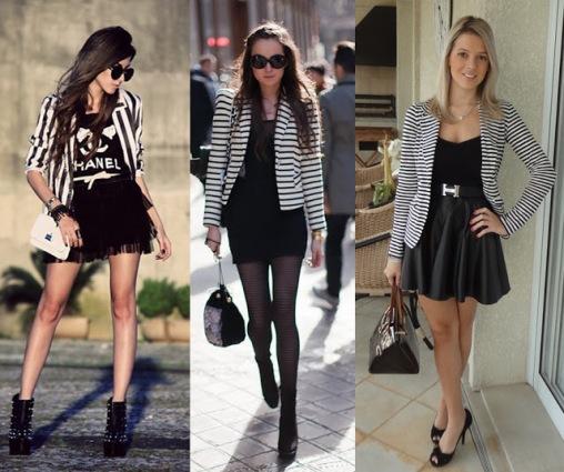 como usar look blazer listrado preto branco saia