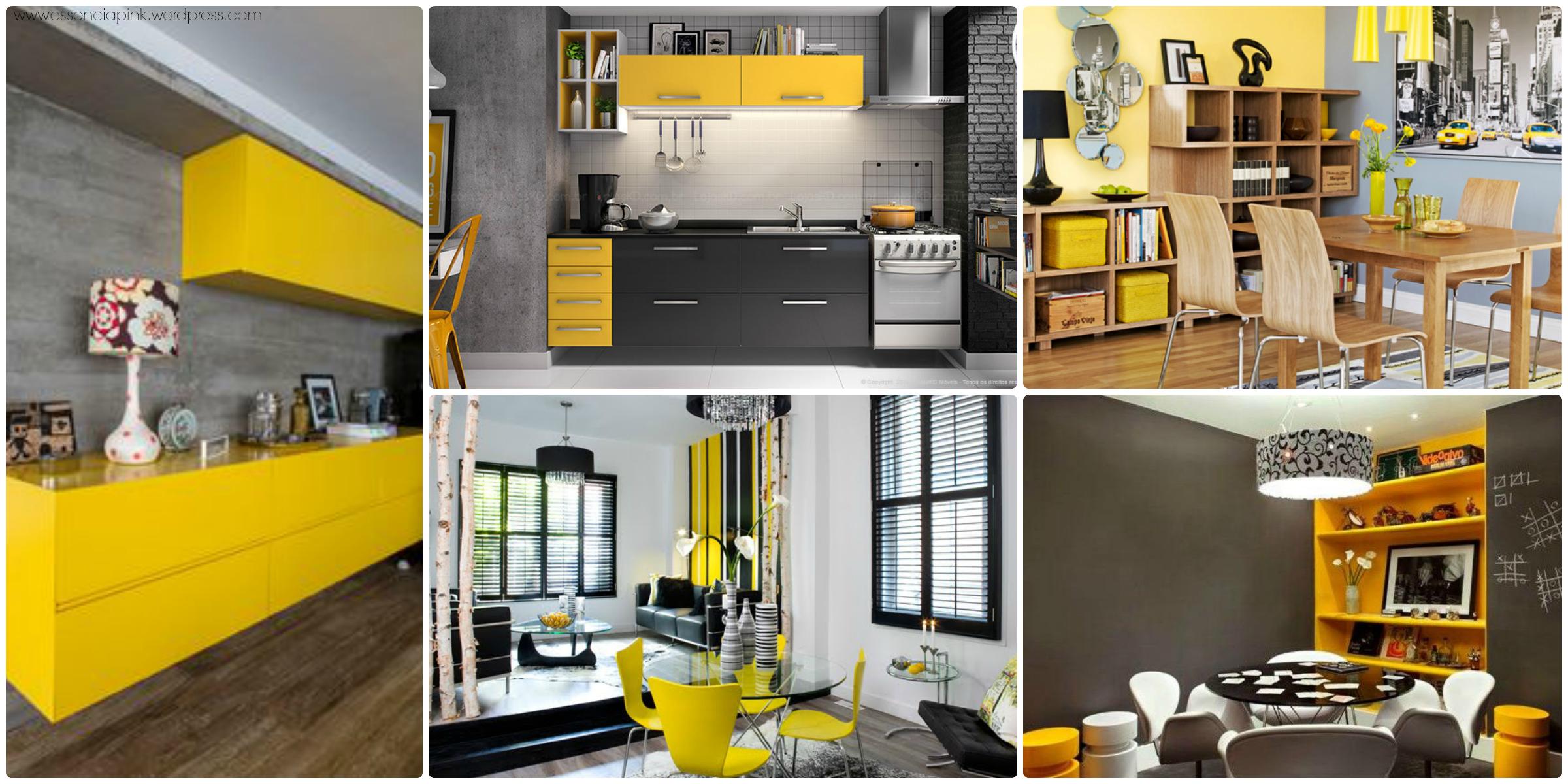 cozinha amarelo com cinza blog essenciapink #C09E0B 2400x1200 Banheiro Amarelo Com Cinza