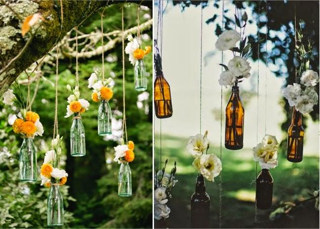 decoracao casamento garrafas de vidro:10 Inspirações de Decoração com Garrafa de Vidro e flores